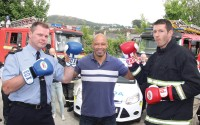 At the launch of the Blue Light Fight Night are Garda Bernard McGinley, Enniscorthy; Paul McGrath; Fireman Jason O Connor.