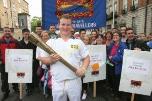 6.6.12 Dublin, Ireland. JOHN COLLINS from Pavee Point participating in the olympic torch events in the lead up to the London Olympics. Here waiting prior to recieving the olympic flame. Photo by Derek Speirs