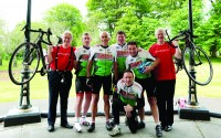 l-r,Professor Anthony Staines, Chair IBTS; Alan Waters Garda HQ; Stephen Roe, Garda Cork City; Damien Maher, Tallaght; Pascal Sheehy RTE; Peter Kennedy, Angelsea Street, Cork and Andy Kelly CEO IBTS. Garda Blood4Life 2014 Cycle arrives in Dublin.