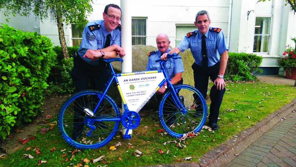 The Info Bike is pictured with Sergeant Seamus Ryan; Inspector Tom Condon and Superintendent Martin Fitzgerald.