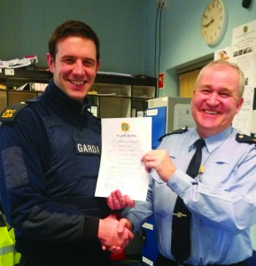 Garda James Kearney receiving a commendation from Sergeant Patrick Dempsey. Kearney and Garda Kate Glennon responded to a call of three elderly males being assaulted in Carlow town. Kearney was confronted by a large crowd of youths and after a foot chase arrested one man, while Glennon administrated first aid to the men. Two more men were arrested by Kearney and charged a short time later. The three elderly males all received hospital treatment for their injuries but made swift recoveries.