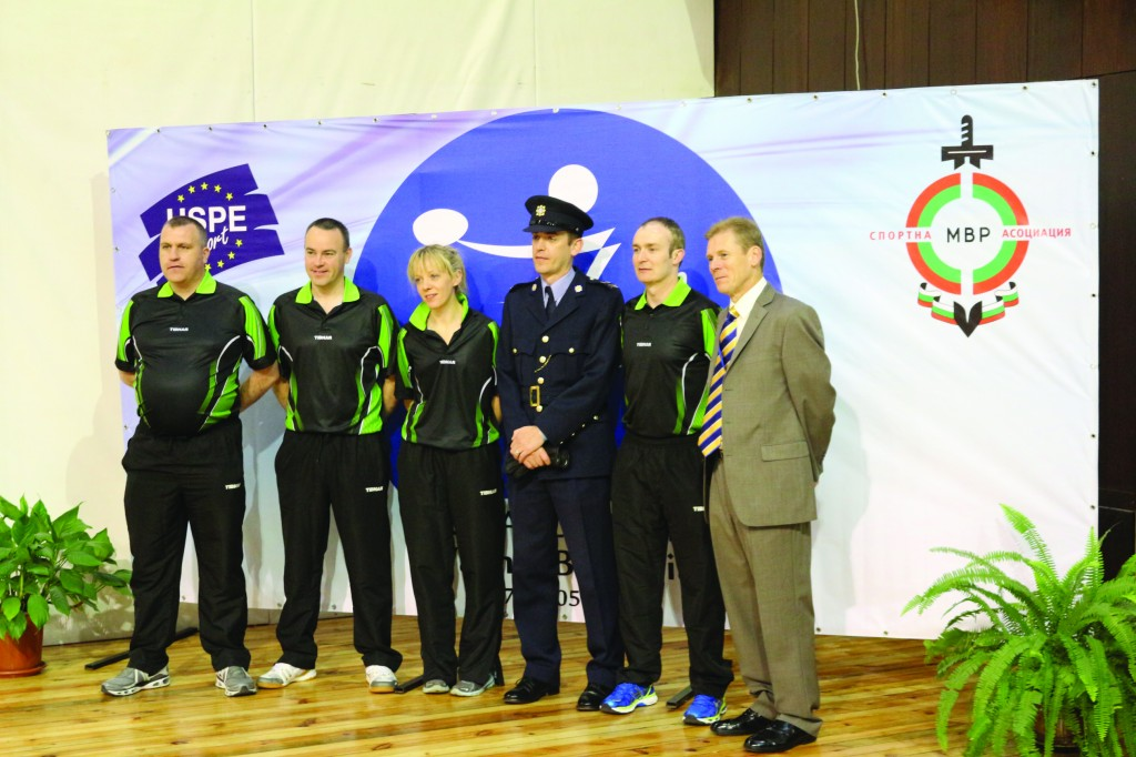 Pictured the An Garda Síochána table tennis team at the opening ceremony wearing the Irish team kit which was purchased with sponsorship assistance from St Paul's Credit Union. (l-r): Garda Ian Hutchinson, Garda Headquarters; Garda Stephen Joyce, Gort; Garda Louise Long, Blackrock; Garda Ian Philips, Glenties; Sergeant Adrian Flynn, Sligo; retired Superintendent Paul Moran, Press Office
