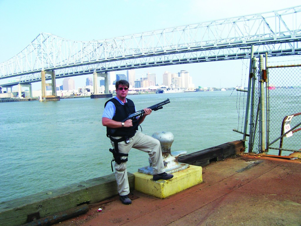 JP Sexton on patrol on the docks in New Orleans.