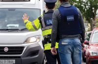ARMED CHECKPOINT: Uniformed members of An Garda Síochána, supported by armed SDU officers mount a checkpoint on Kildare Road, Crumlin on 23 July 2016. PHOTO: CONOR Ó MEARÁIN